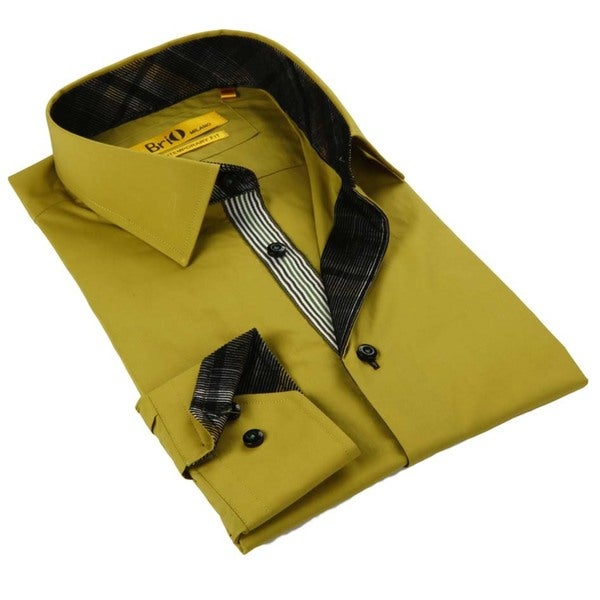 Brio Milano Men's Mustard Solid Mustard Button Down Fashion Shirt