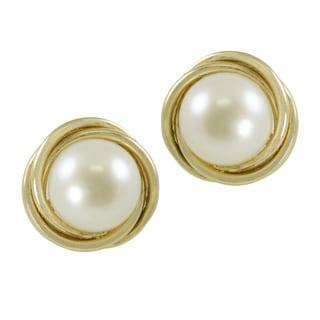 Pearls for You 14k Gold Freshwater Pearl LoveKnot Stud Earrings (7-7.5 mm)
