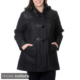 EXcelled Ladies Wool Toggle Coat with Faux Leather Inserts and detachable hood