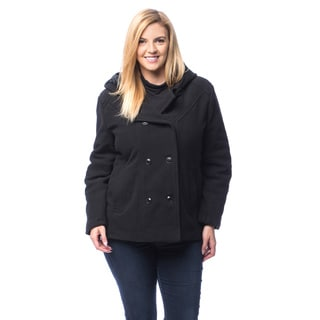 Excelled Plus Faux Wool Hooded Peacoat