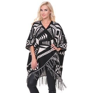 White Mark Women's Black Cherokee Patterned Poncho
