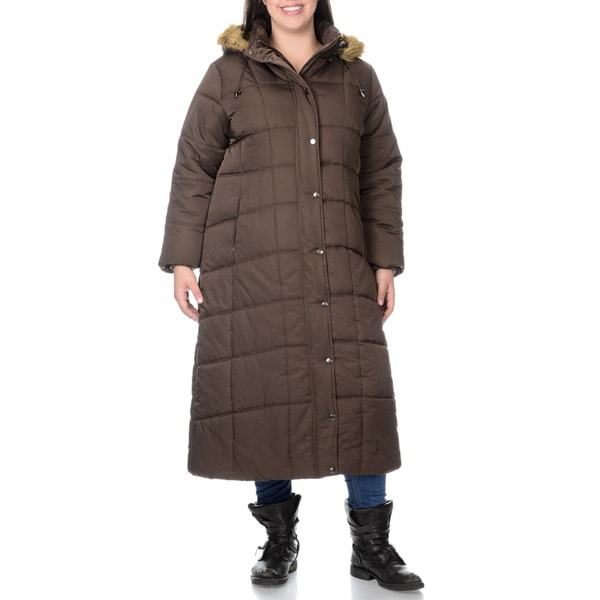 EXcelled Plus Full Length Quilted Faux Fur Trim Hood City Coat (As Is Item)