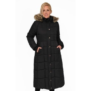 Excelled Plus Full Length Quilted City Coat with Attached Faux Fur Trim Hood