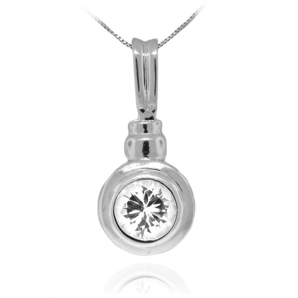 Gioelli Sterling Silver Bezel Circle Pendant Necklace