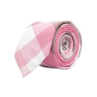 Handmade Men's Pink/ Grey Cotton Mosaic Tie