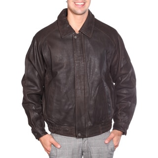Wilda Men's 'Sean' Dark Brown Leather Bomber Jacket