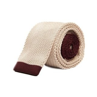Tan and Burgundy Mosaic Woven Tie