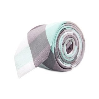 Mint Green and Grey Mosaic Plaid Cotton Tie