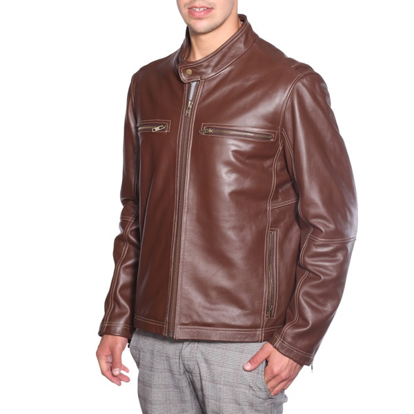 NuBorn Leather Men's 'Norton' Brown Moto Jacket with Thinuslate Lining 14223857