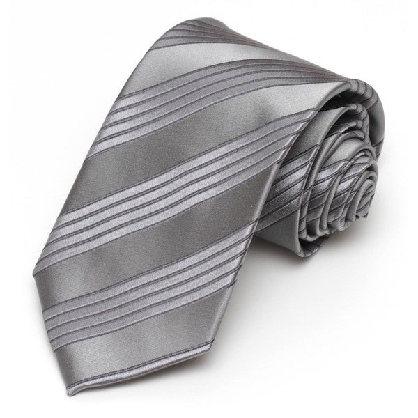Alara Grey Silk Tonal Striped Tie