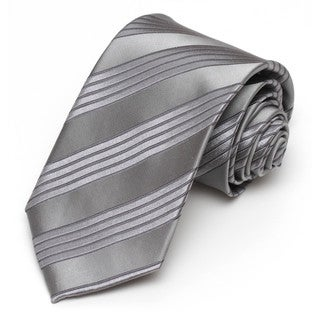 Grey Silk Tonal Striped Tie