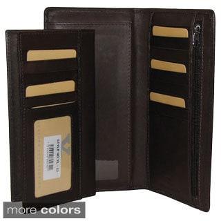 All-in-1 Genuine Leather Wallet/ Card Case Holder/ Removable Checkbook/ Register Pocket Secretary