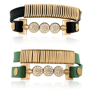Gioelli Goldplated Stainless Steel Crystal Leather Wrap Bracelet