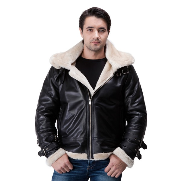 United Face Mens Hooded Leather Aviator Jacket Lambskin B-3 Bomber (As Is Item)
