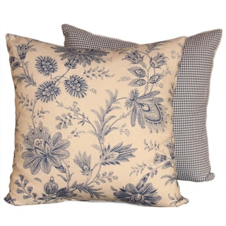 Vintage Denim Blue Floral Throw Pillows (Set of 2)