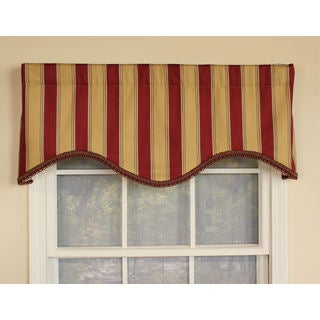 Savanah Stripe Garnet Cornice Window Valance