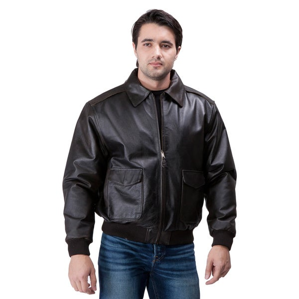 United Face Mens Air Force A-2 Leather Aviator Flight Bomber Jacket