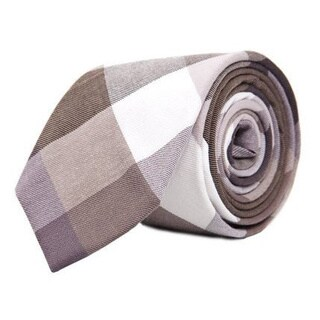 Men's Grey and Green Mosaic Plaid Cotton Tie