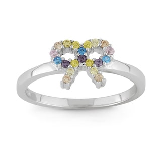 Junior Jewels Sterling Silver Multi-color Cubic Zirconia Bow-ribbon Ring
