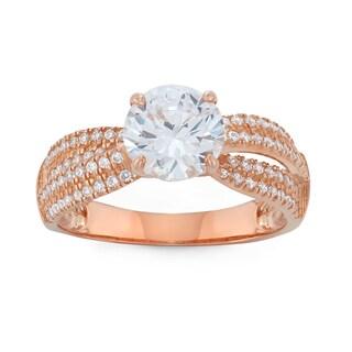 Gioelli 10k Rose Gold Round-cut Cubic Zirconia Stylish Designer Ring