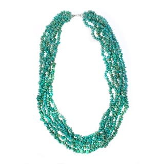 Base Metal Turquoise Chip 6-strand Necklace