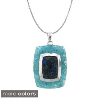 Sterling Silver Crushed Gemstone Pendant Necklace