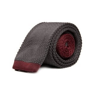 Men's Black and Burgundy Woven Tie