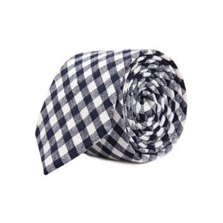 Men's Navy and White Gingham Plaid Cotton Tie