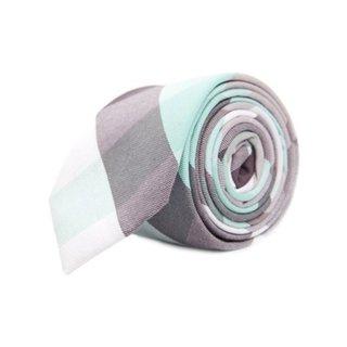 Grey and Blue Linen Blend Mosaic Plaid Tie