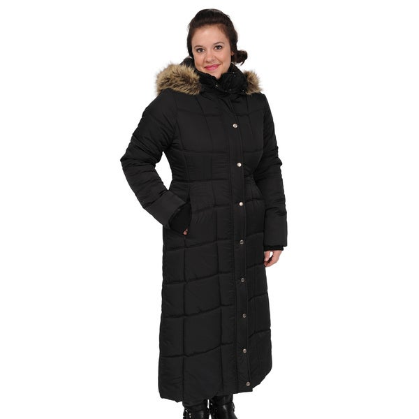 EXcelled Ladies Full Length Quilted City Coat with Attached Faux Fur Trim Hood (As Is Item)