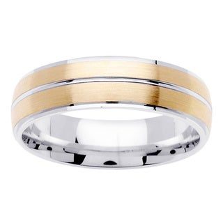 18k Two-tone Gold Brushed Comfort-fit Wedding Band Ring