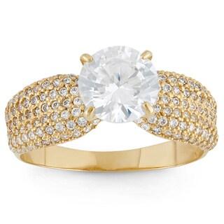 Gioelli 10k Yellow Gold Round-cut Cubic Zirconia Designer Ring