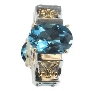 Michael Valitutti Palladium Silver London Blue Topaz and Neon Apatite Charm