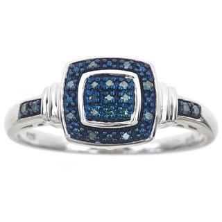 Sterling Silver 1/10ct TDW Blue Diamond Ring (Blue, SI1-SI2)
