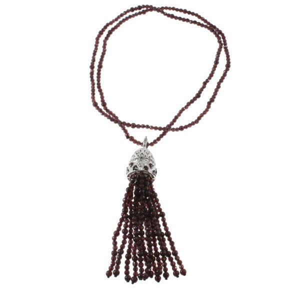 Dallas Prince Garnet And Marcasite Tassel Necklace