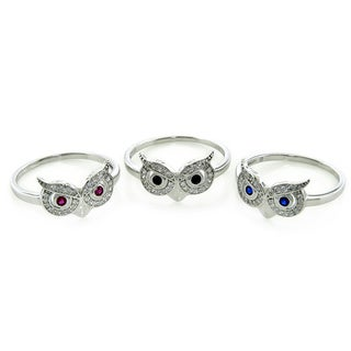 Eternally Haute Sterling Silver Pave Owl Rings