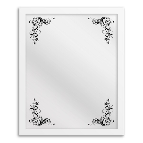 Floral Corner Framed Hanging Mirror Art