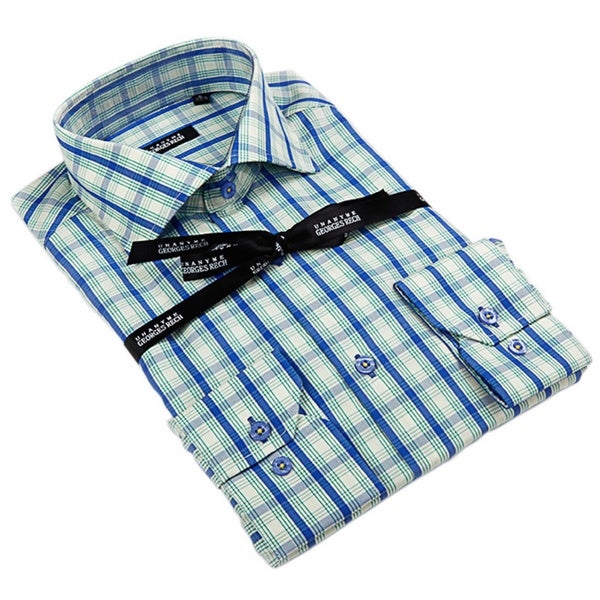 George Rech Men's White Blue/ Green/ White Plaid Button Down Fashion Shirt