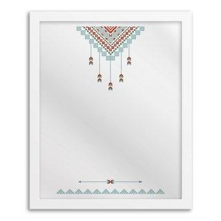 Tribal Aqua Hanging Mirror Wall Art