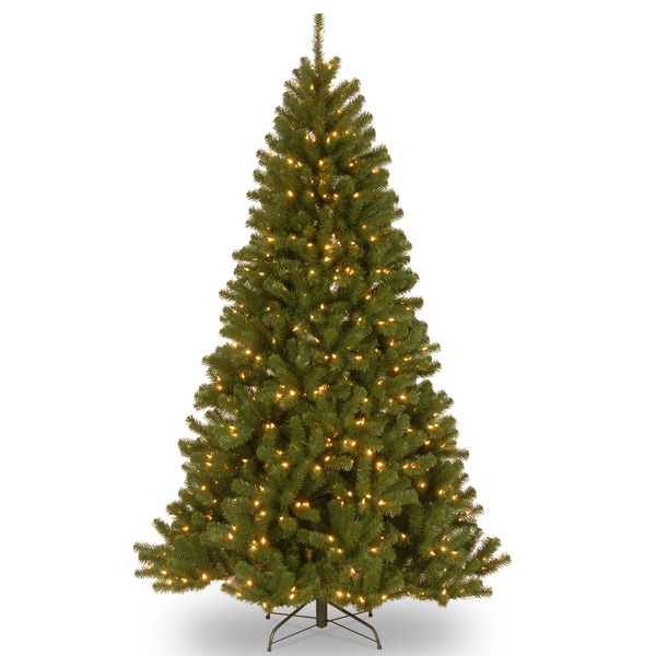 7.5-foot North Valley Spruce Hinged Tree with 550 Low Voltage, Dual White/Multi-Colored LED Lights