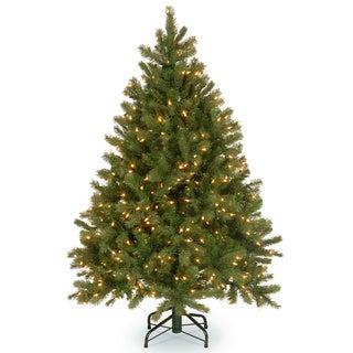 4.5-foot Feel-Real Down Swept Douglas Fir Hinged Tree with 450 Clear Lights
