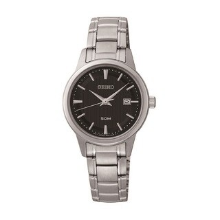 Seiko Women's SUR851 Stainless Steel Black Dial Watch