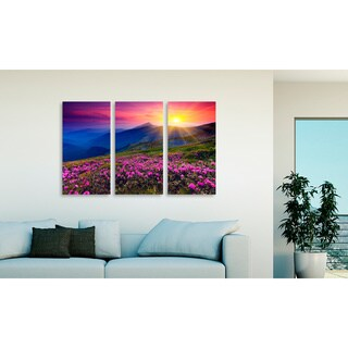 Leonid Tit 'Mountain Landscape' Triptych Canvas Art