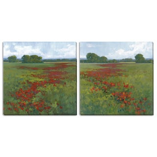 """Kim Coulter's """"Red Poppies I"""" and """"II"""" Canvas Art Set"""