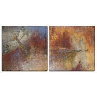 """Gallery Direct Maeve Harris' """"Dragonfly I"""" and """"II"""" Canvas Art Set"""