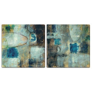 """Gallery Direct Jane Bellows' """"Tangent Point I"""" and """"II"""" Canvas Art Set"""