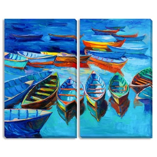 Boyan Dimitrov's 'Floating Boats' Diptych Canvas Art