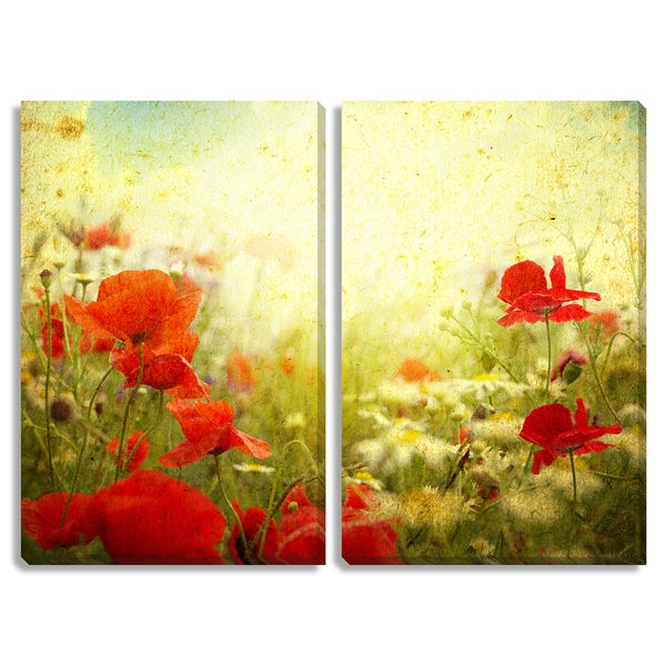 Vintage Poppies Diptych Canvas Art