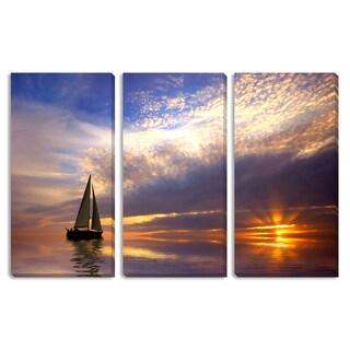 Eric Gevaert's 'Sailing at Sunset' Triptych Canvas Art