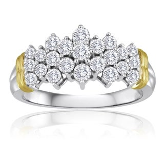 10k Two-tone Gold 1ct TDW Pave Diamond Pyramid Ring (H-I, I2-I3)